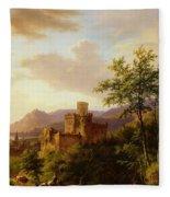 Travellers On A Path In An Extensive Rhineland Landscape Fleece Blanket