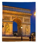 Twilight At Arc De Triomphe Fleece Blanket