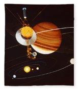 Voyager Saturn Flyby Artwork Fleece Blanket