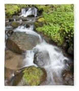 Water Cascading Over Rocks, Mount Hood Fleece Blanket