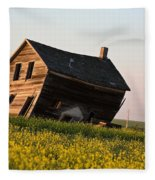 Weathered Old Farm House In Scenic Saskatchewan Fleece Blanket
