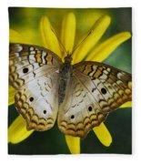 White Peacock Butterfly  Fleece Blanket