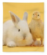White Rabbit And Bantam Chick On Yellow Fleece Blanket