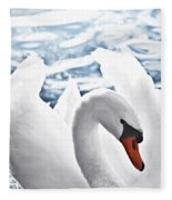 White Swan On Water Fleece Blanket