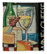 White Wine And Cheese Poster Fleece Blanket