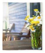 Wildflowers Bouquet At Cottage Fleece Blanket