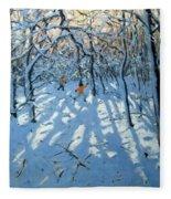 Winter Woodland Near Newhaven Derbyshire Fleece Blanket