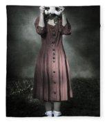 Woman And Teddy Fleece Blanket