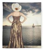Woman At The Lake Fleece Blanket