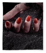 Woman Hand With Red Nails On Black Sand Fleece Blanket