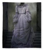Woman On Steps Fleece Blanket