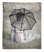 Woman On Street Fleece Blanket