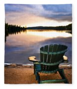 Wooden Chair At Sunset On Beach Fleece Blanket