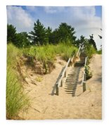Wooden Stairs Over Dunes At Beach Fleece Blanket