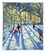Woodland In Winter Fleece Blanket