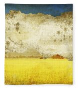 Yellow Field On Old Grunge Paper Fleece Blanket