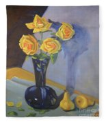 Yellow Roses And Pears Fleece Blanket
