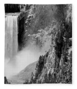 Yellowstone Waterfalls In Black And White Fleece Blanket