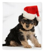 Yorkipoo Pup Wearing Christmas Hat Fleece Blanket