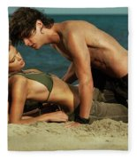 Young Couple On The Beach Fleece Blanket
