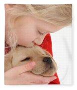 Young Girl With Yellow Labrador Fleece Blanket