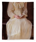 Young Lady In Yellow Gown With Letters Fleece Blanket