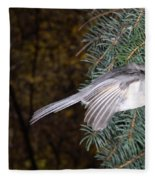 Tufted Titmouse In Flight Fleece Blanket