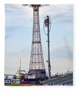 13 Year Old Pitching At Coney Island Cyclones Stadium Fleece Blanket