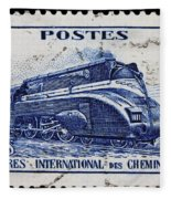 old French postage stamp Fleece Blanket