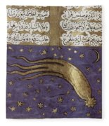 1577 Comet In Turkish Manuscript Fleece Blanket