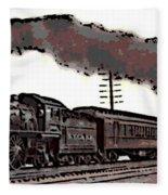 1800's Steam Train Fleece Blanket