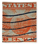 1934 U. S. Air Mail Dull Orange Stamp Fleece Blanket
