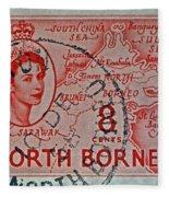1954 North Borneo Stamp Fleece Blanket