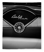 1955 Chevy Bel Air Glow Compartment In Black And White Fleece Blanket