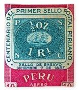 1957 Peru Ten Centavos Stamp Fleece Blanket