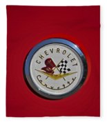 1957 Red Corvette Emblem Fleece Blanket