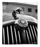 1963 Jaguar Front Grill In Balck And White Fleece Blanket