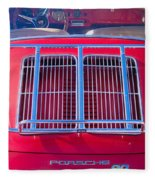 1963 Red Porsche 356b Super 90 Back End Fleece Blanket