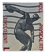 1965 Physical Fitness Stamp Fleece Blanket