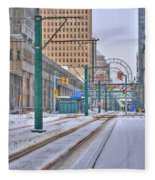 1st Real Snowfall Metro Rail 2012 Fleece Blanket