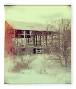 Barn In Snow Fleece Blanket