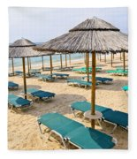 Beach Umbrellas On Sandy Seashore Fleece Blanket