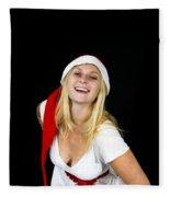 Blonde Woman With Santa Hat Fleece Blanket