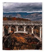 Bridge Over Autumn Fleece Blanket