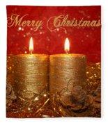 2 Candles Christmas Card Fleece Blanket