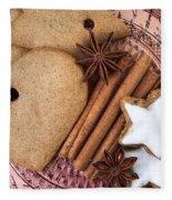 Christmas Gingerbread Fleece Blanket by Nailia Schwarz