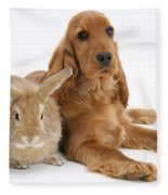 Cocker Spaniel And Rabbit Fleece Blanket