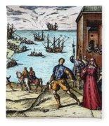 Columbus: Departure, 1492 Fleece Blanket