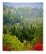 Fall Forest Rain Storm Fleece Blanket