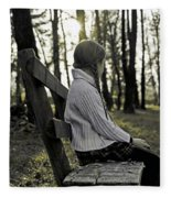 Girl Sitting On A Wooden Bench In The Forest Against The Light Fleece Blanket